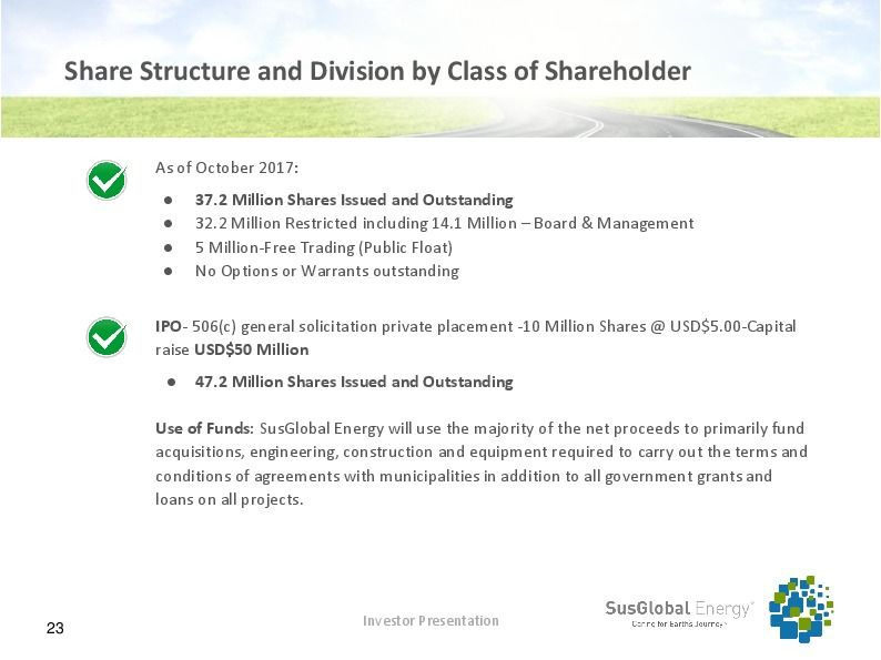 Investor presentation   susglobal energy corp october 2017 page 22
